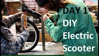 DIY Electric Scooter build - Day 1 - 1-1-2017 - Start of Frame