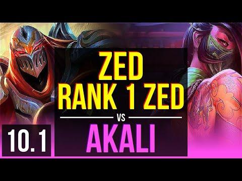 ZED Vs AKALI (MID) | Rank 1 Zed, Rank 10, KDA 11/3/9, Dominating | TR Master | V10.1