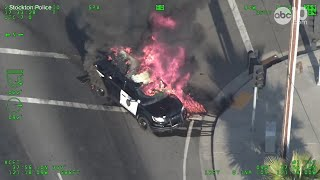Stockton police pursuit ends with suspected gang arrests, patrol vehicle on fire | RAW