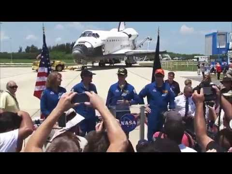 STS-135 Space Shuttle Atlantis Crew Remarks To KSC Employees After Landing