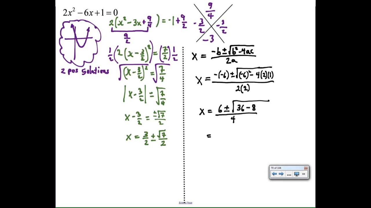 Complete The Square Vs Quadratic Formula