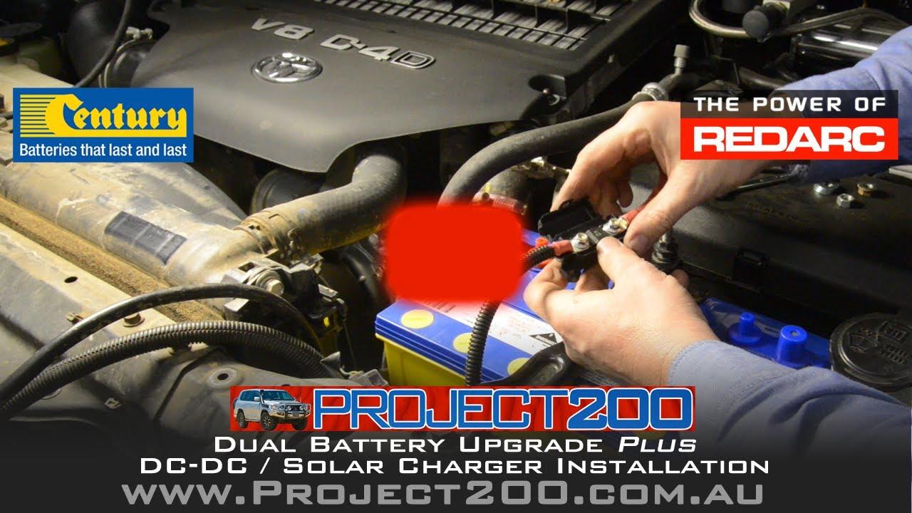 dual battery system dc dc charger install landcruiser 200 redarc bcdc1225d [ 1280 x 720 Pixel ]
