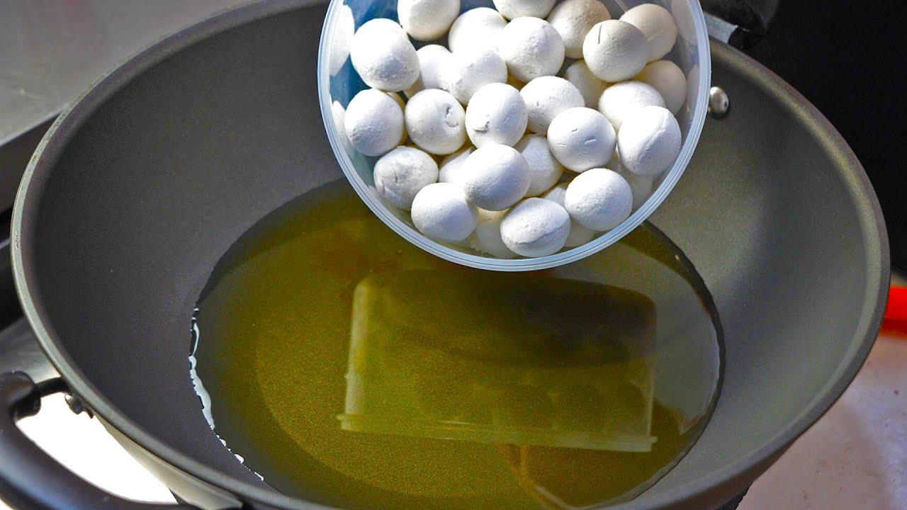 把汤圆倒入滚烫的油锅中,瞬间变美食,第一次见这种做法,超好吃Tangyuan