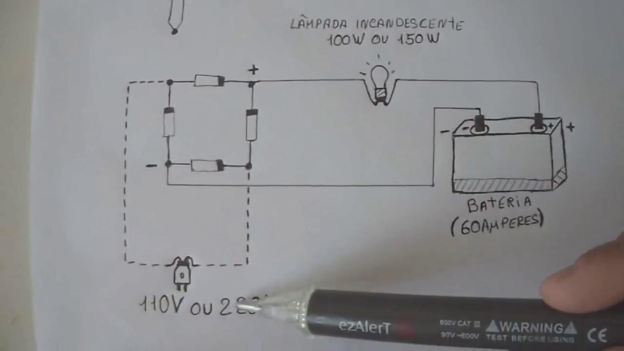 9ffba6368c5 🔵 Carregador de bateria caseiro fazendo uma ponte de diodos fácil ...