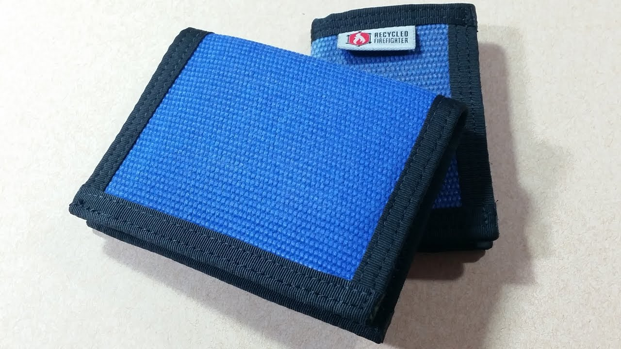 Recycled Firefighter Captain Wallet - Blue Fire Hose