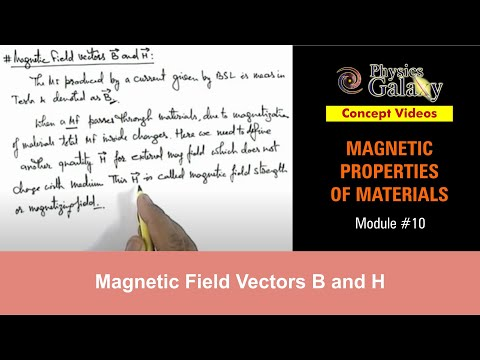 10. Class 12 Physics | Magnetic Properties | Magnetic Field Vectors B and H | by Ashish Arora