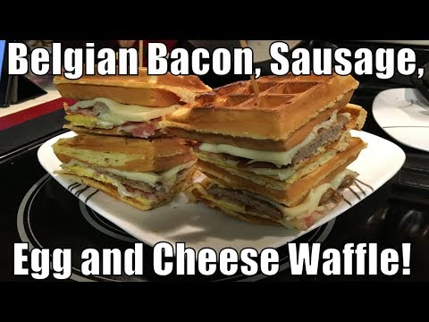 LiVE! Belgian, Bacon, Sausage, Egg And Cheese Waffle!
