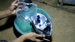 Cara Mudah Membuka Reflektor / Batok Lampu dengan Air Panas.