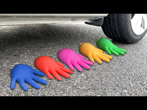 Experiment Car vs Water Gloves | Crushing crunchy & soft things by car | Test Ex