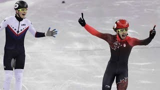 Samuel Girard short track Canadian skater wins gold in 1,000 meters at the Gangneung Ice Arena.
