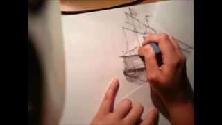 Repeat youtube video Old Ship - drawing pencil (x16 faster)