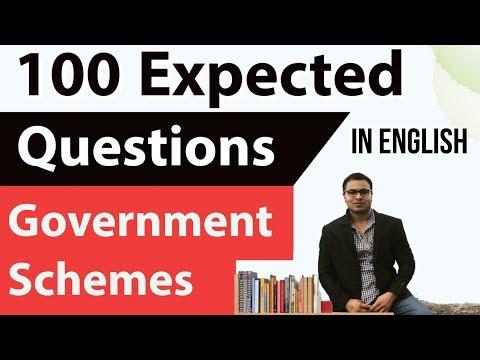 (English) 100 expected MCQs Latest Government Schemes Set 2- Current affairs 2018 UPSC/SSC/PCS/IBPS