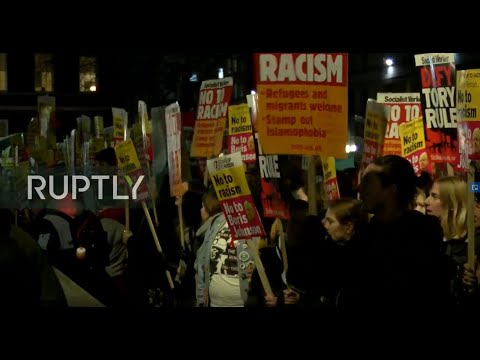 LIVE: Protesters gather outside Downing Street after Conservative election win