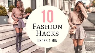 10 Fashion Hacks UNDER 1 MINUTE | Quick & Easy No Sewing!