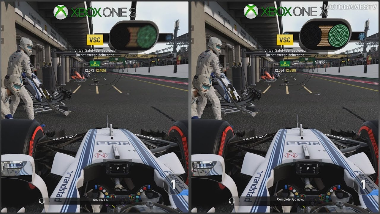 f1 2017 xbox one s vs xbox one x 1080p graphics. Black Bedroom Furniture Sets. Home Design Ideas