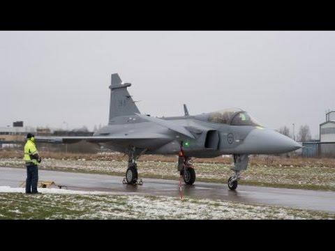 Saab: Gripen E advanced multi-role fighter undergoing taxi testing