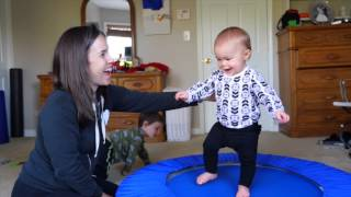Baby Jumps on Trampoline!