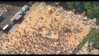 Aerials of Trump protesters - watch live