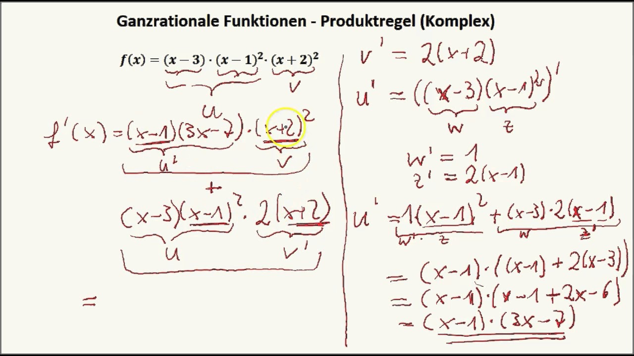 Ganzrationale Funktionen - Produktregel und Kettenregel komplex ...