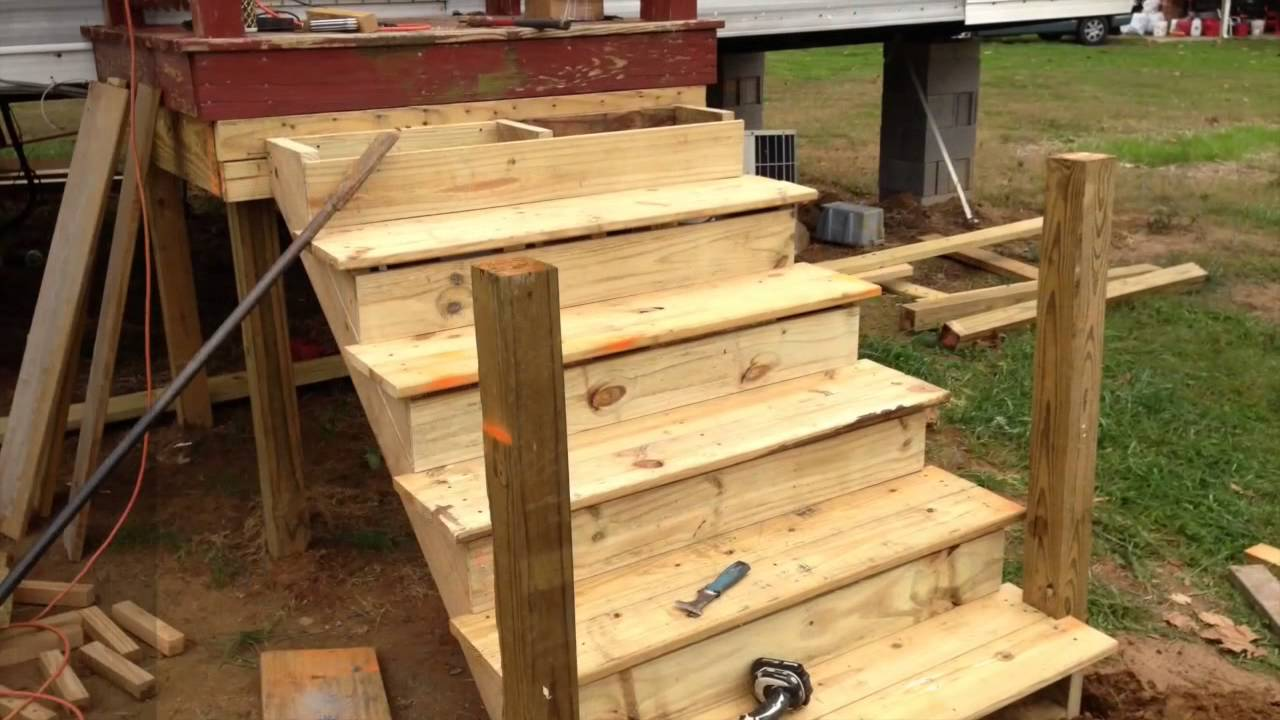 How To Build A Deck Onto A Used Mobile Home Youtube | Wooden Stairs For Mobile Home | Pre Built | Prefabricated | Simple | Wood Camper | Patio