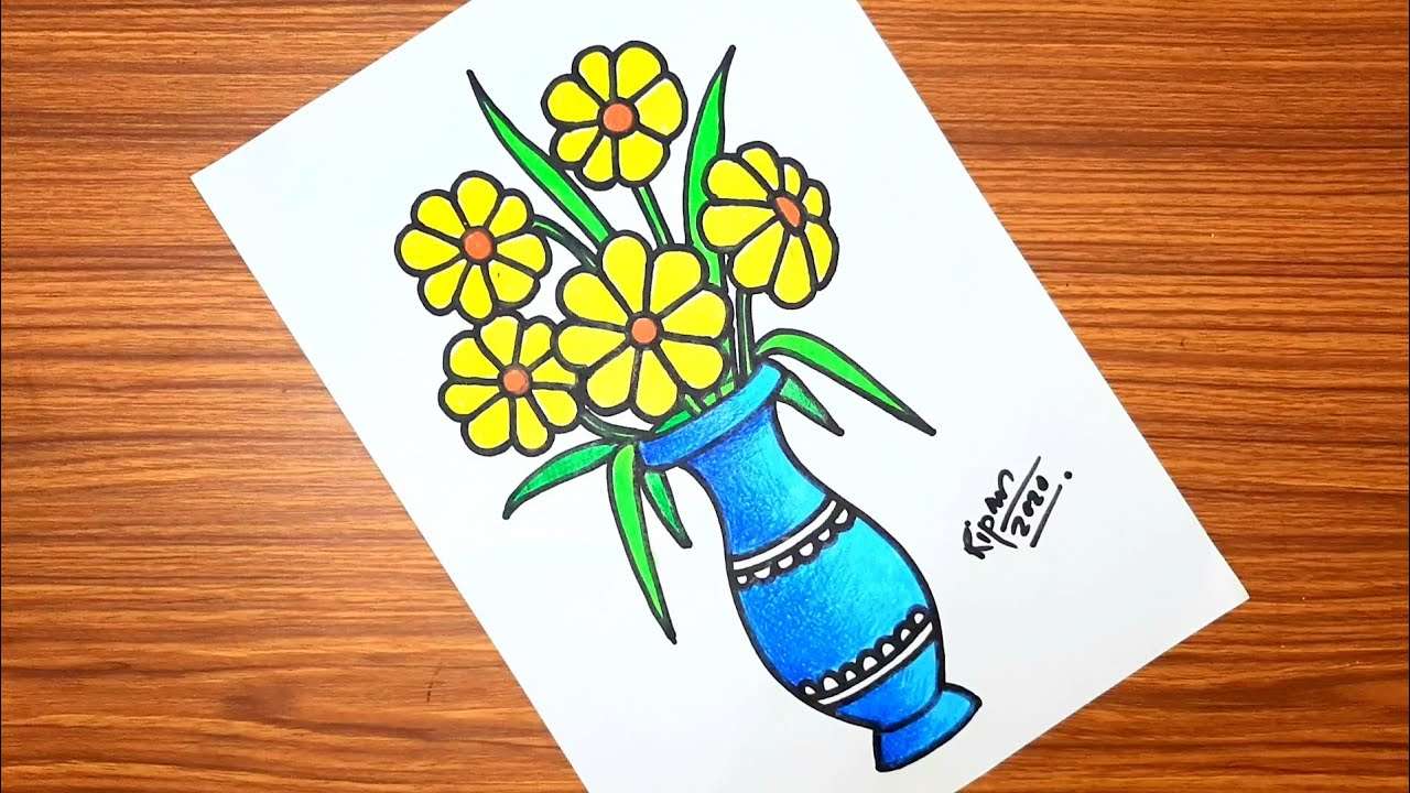 Download How To Draw Flower Vase À¦« À¦²à¦¦ À¦¨ À¦¡ À¦°à¦¯ Vase Drawing With Pastel Colours For Beginners Mp3 Download 320kbps