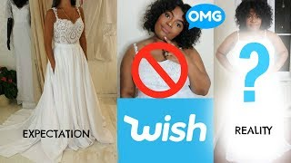 I BOUGHT A £14 WEDDING DRESS FROM WISH! | Plus Size Wish Wedding Dress Review | Wedding Series Ep#1