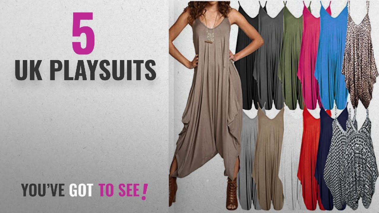 a6b02593c8 Top 10 Uk Playsuits  2018   Ladies Baggy Harem Jumpsuit Romper Sleeveless  All In One V-Neck Cami