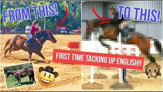 WESTERN Barrel HORSE Gets An ENGLISH MAKEOVER!!!