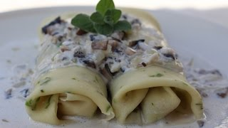 Vegetable Crepes with Alfredo Sauce