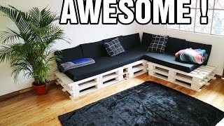 Buy Pallets on amazon :http://amzn.to/2ukLbzP Making the cutest DIY PALLET COUCH - PROJECTS WITH PALLETS ! hope you