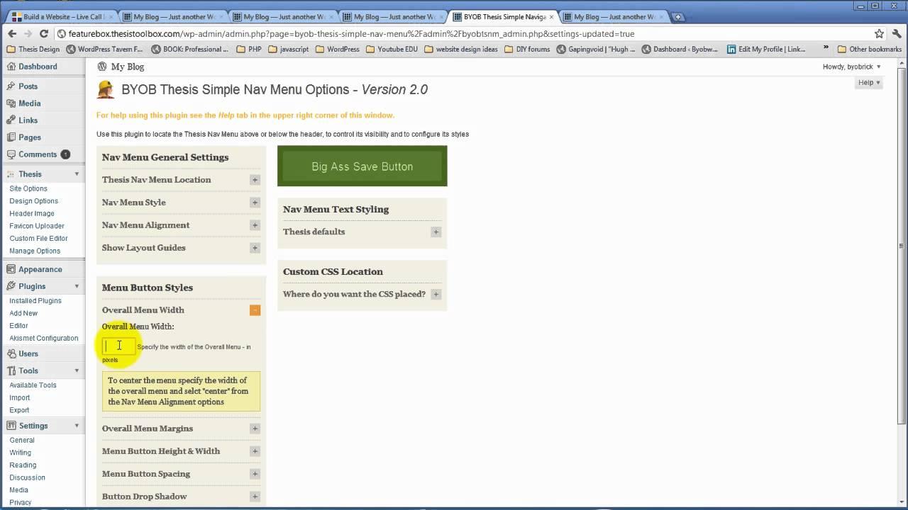 Thesis Navigation Menu Plugin Part on Vimeo YouTube Thesis theme custom css  font size report web