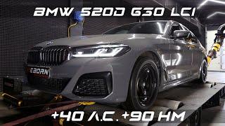 Чип-тюнинг BMW 520d (G30 LCI) с замерами и настройкой на мощностном стенде в Reborn Technologies.