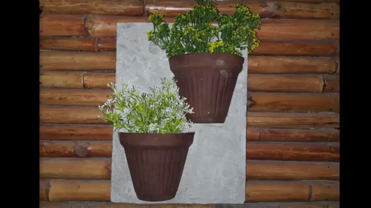 Wall Hanging Flower Pots Diy Room Decor Concrete Craft Ideas