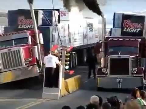 Гонки на грузовиках  Американские тягачи устроили драг рейсинг