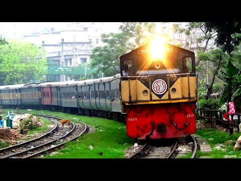 Dhaka Express Train from Noakhali Of Bangladesh Railway entering Kamlapur railway Station