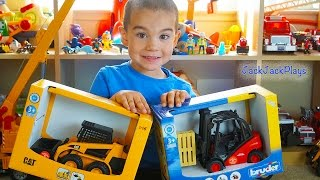 Toy Trucks for Kids UNBOXING Bruder Skidsteer Forklift Playing with Marble Run