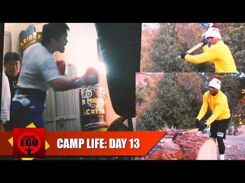 MAYWEATHER VS PACQUIAO CAMP LIFE: DAY 13 – PACQUIAO RUTHLESS HEAVY BAG; MAYWEATHER CHOPPING WOOD