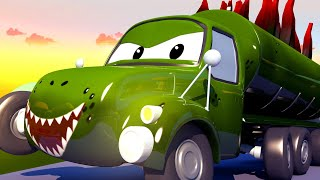 Garagem de carro para crianças - Tyson é um estegossauro - Videos de carros para crianças