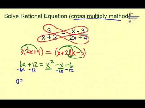 Ch. 8 Solve Rational Equations cross multiply method - YouTube