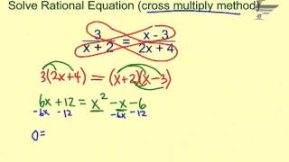 Ch. 8 Solve Ratİonal Equations cross multiply method