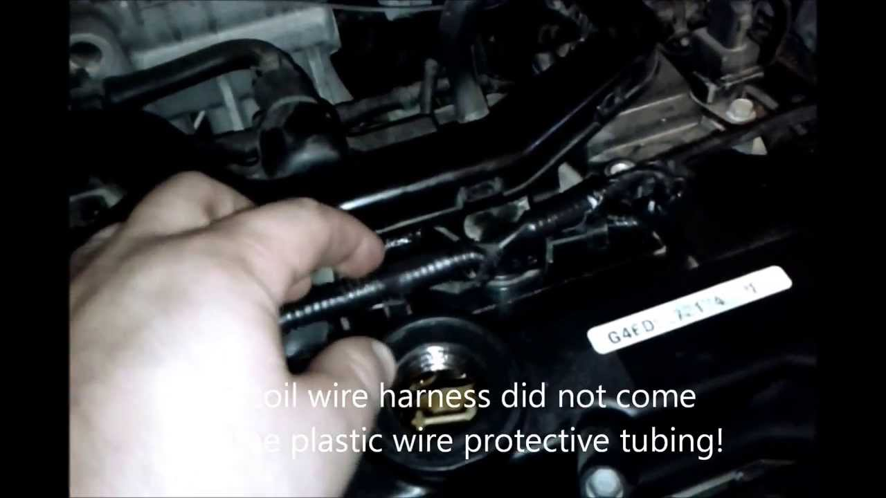 2009 hyundai accent gls 1 6l dohc defective coil wire harness design -  youtube