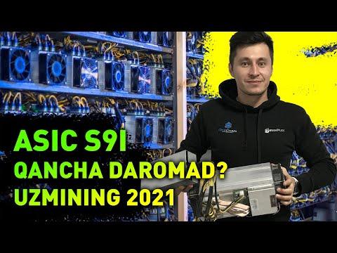 Uz Bitcoin Mining ASIC S9 Yanvar 2021 Qancha Daromad $ Qanday Pul Ishlash?