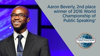 Aaron Beverly, 2nd place winner of 2016 World Champion of Public Speaking