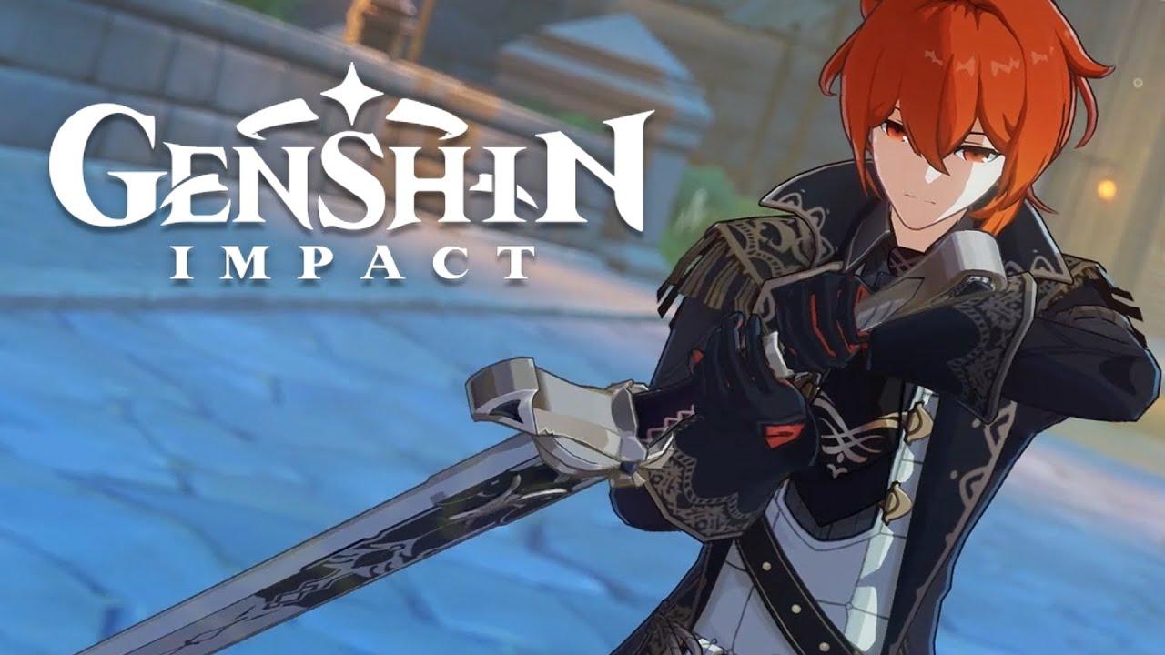 Genshin Impact Diluc Short Gameplay And Stormterror Boss Fight Youtube