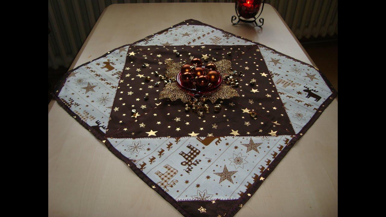 patchwork weihnachtstischdecke n hen youtube. Black Bedroom Furniture Sets. Home Design Ideas
