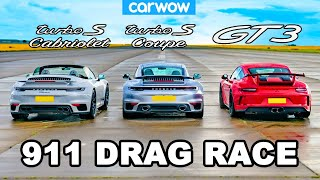 Porsche 911 GT3 vs New Turbo S Coupé and Cabriolet: DRAG RACE *Shock Result*