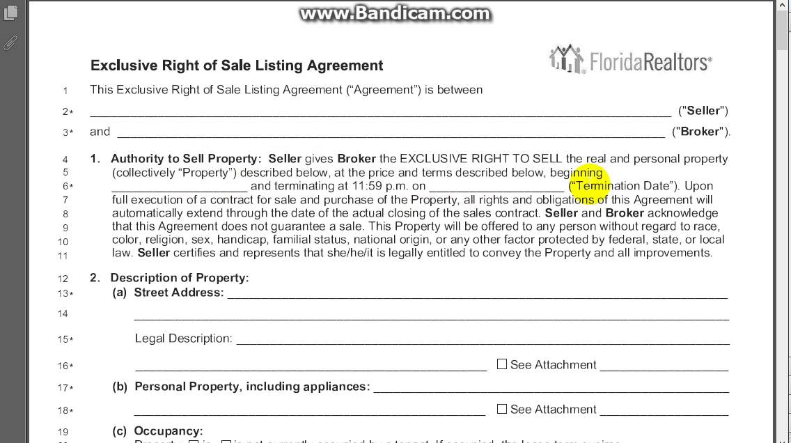 Exclusive Right Of Sale Listing Agreement Section 1 Youtube