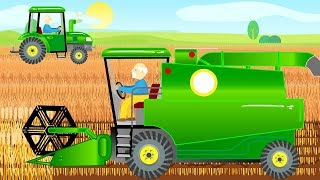 Bajka Traktor i Kombajn - Tractor and Combine Harvester during the Harvest | Farm Work for Kids