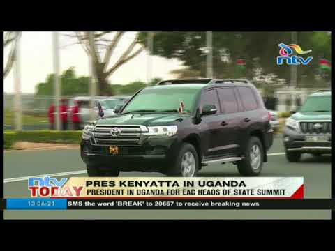 President Uhuru Kenyatta in Uganda for EAC Heads of State summit