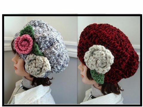 Chunky Style Hat Crochet Pattern With Flowers How To Diy Free